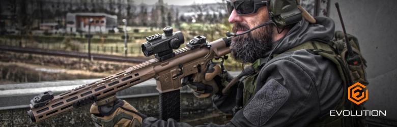 the evolution airsoft gun in action